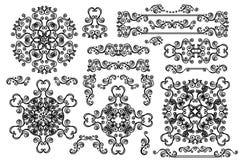 Mandala,Border,frame set.Winter doodles decor. Winter decor big set.Swirl Border,mandala, frame with snowflake.Decor elements to create a new snowflakes. Easy to Stock Photos