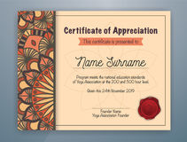 Mandala Bordered Certificate of Appreciation Template. Brown Mandala Bordered Certificate of Appreciation Template Design for Yoga class. Vector illustration Stock Photos