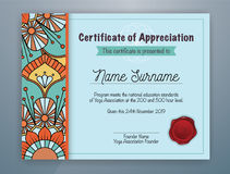 Mandala Bordered Certificate of Appreciation Template. Cyan Mandala Bordered Certificate of Appreciation Template Design for Yoga class. Vector illustration Stock Photography