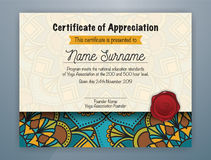 Mandala Bordered Certificate of Appreciation Template. Design for Yoga class. Vector illustration Stock Image