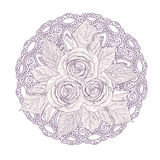 Mandala with bouquet of three roses isolated on white background. Vector illustration Stock Photos