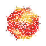 Mandala boven kleurrijke waterverfvlek Uitstekend Rond Ornament P royalty-vrije illustratie