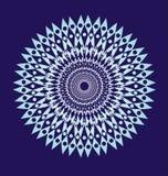 Mandala branca em um fundo azul Fundo da arte Textura, fractal Gráficos de vetor Fotos de Stock Royalty Free