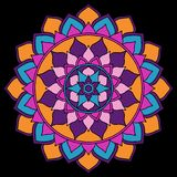 Mandala Bright Orange, porpora, rosa, blu sull'ornamento orientale nero royalty illustrazione gratis