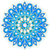 Mandala brooch jewelry, design element with precious stones. Geo Stock Image