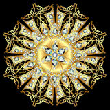 Mandala brooch jewelry, design element with precious stones. Geo Royalty Free Stock Image