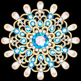 Mandala brooch jewelry, design element. Tribal ethnic floral pat Royalty Free Stock Photography