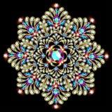 Mandala brooch jewelry, design element. Tribal ethnic floral pat Stock Photography