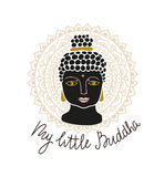 Mandala and buddha head with lettering - `My little Buddha`. Hand drawn print design vector illustration