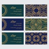 Set of luxury golden ornaments, frames and patterns on blue and green backgrounds. Mandala business card design template vector collection. Set of luxury golden Vector Illustration