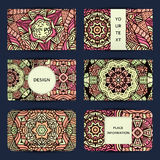 Mandala. Business card with ornament handmade in retro colors . vector illustration