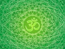Mandala a céu aberto com o sinal de Aum OM Ornamento bonito em tons verdes Fotografia de Stock Royalty Free