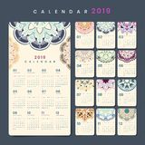Mandala calendar mockup stock photos