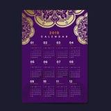 Mandala calendar 2019 vector poster vector illustration