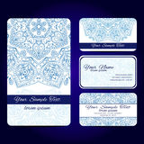 Mandala card. Set retro business card . Vector background. Card or invitation. Vintage decorative elements. Hand drawn background Royalty Free Stock Images