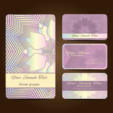 Mandala card7. Set retro business card. Vector background. Card or invitation. Vintage decorative elements. Hand drawn background Stock Illustration
