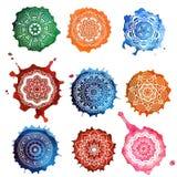 Mandala Card Watercolor stock illustrationer