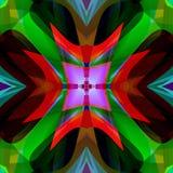 Mandala celtica trasversale, fondo geometrico nei verdi, stella centrale in porpora, rosso, arancia, Borgogna di corallo, marrone illustrazione di stock