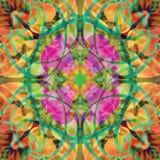 Mandala central cor-de-rosa da flor em um fundo abstrato com a laranja, verde, clara - cores verdes, fúcsia, amarelas, brilhantes ilustração stock