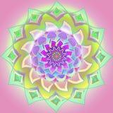 Mandala central de la flor de los colores en colores pastel en verde, amarillo, púrpura, colores de la aguamarina, fondo purpúreo libre illustration