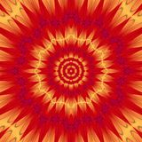 A mandala centralizada psicadélico no formulário do sol vermelho deu forma ao projeto da mandala com raios alaranjados Fotos de Stock