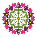 Mandala children with flowers and hearts. Royalty Free Stock Photo