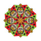 Mandala for children with owl and hearts. Stock Photography