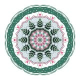 Mandala with christmas trees, toys and stars. vector illustration
