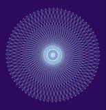Mandala a cielo abierto, ornamento circular elegante Dibujo blanco en un fondo azul Vector Imagen de archivo