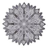 Mandala cinzenta no fundo branco Isolado em volta do elemento Fotos de Stock