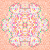 Mandala circle arabesque background. Floral mandala background. Ornamental bright card Stock Photo