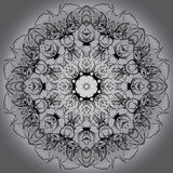 Mandala circle round monochrome black white background Stock Photography
