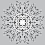 Mandala circle round monochrome black white background Stock Image