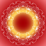 Mandala circle round red orange yellow background Stock Photo
