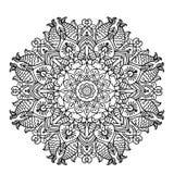 Mandala circulaire de modèle avec des éléments d'illustration animale ethnique de page de coloration de style Photo stock