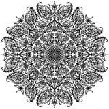 Mandala circular com os ornamento florais que colorem a ilustração do contorno Fotos de Stock Royalty Free