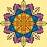 Mandala. A circular ornament, pattern. Colorful abstract circular pattern on a yellow background Royalty Free Stock Photos