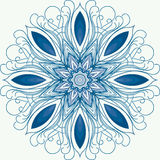 Mandala. A circular ornament, pattern. snowflake. Blue abstract circular pattern on a white background Royalty Free Stock Photography
