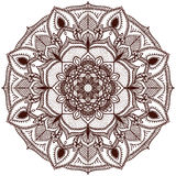 Mandala. The circular pattern of the hand. Handmade. Vector illustration on white background. Isolated Royalty Free Stock Images