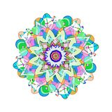 UNUSUAL FLOWER SHAPE MANDALA. PASTEL COLORS PALLET. PLAIN WHITE BACKGROUND. ORNATE DESIGN FOR FABRIC, PRINTS, TEXTILES. MODERN PATTERN DESIGN, BEAUTIFUL stock illustration