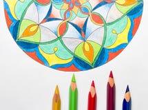 Mandala coloré élégant sur le fond blanc avec le colorf Photos libres de droits