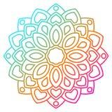 Mandala coloré de fleur de gradient Élément décoratif tiré par la main illustration libre de droits