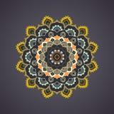 Mandala coloré ornemental sur le fond foncé Images stock