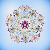Mandala coloré sur le bleu Images stock