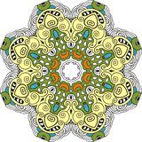 Mandala color circle. Vintage decor paisley elements. Hand drawn esoteric logo pattern, symbol purification meditation, sign yoga Royalty Free Stock Photo