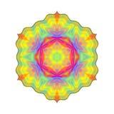 Mandala colorata arcobaleno astratto, fiore isolato su fondo bianco, fioritura multicolore, mandala esoterica variopinta del peta Fotografie Stock