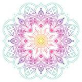 Mandala coloreada decorativa en melocotón y colores verdes stock de ilustración