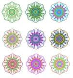 Mandala colored set. Geometric circle element. Royalty Free Stock Image