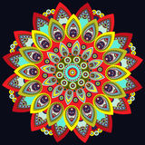 Mandala colorful. East, ethnic design, oriental pattern, round ornament. For use in fabric decor,  , print, tattoo, fretwork, broo Royalty Free Stock Photos