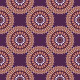 Hand drawn background with decorative elements in purple and orange colors. Mandala colorful vector seamless pattern. Abstract geometric texture. Hand drawn Stock Illustration